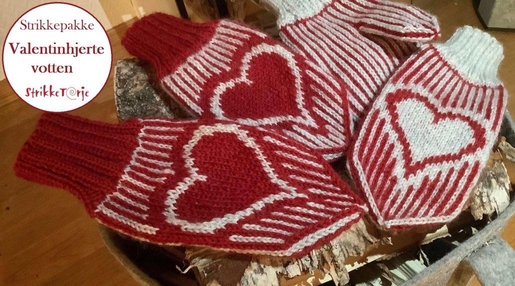 Valentinhjertevotten strikkepakke